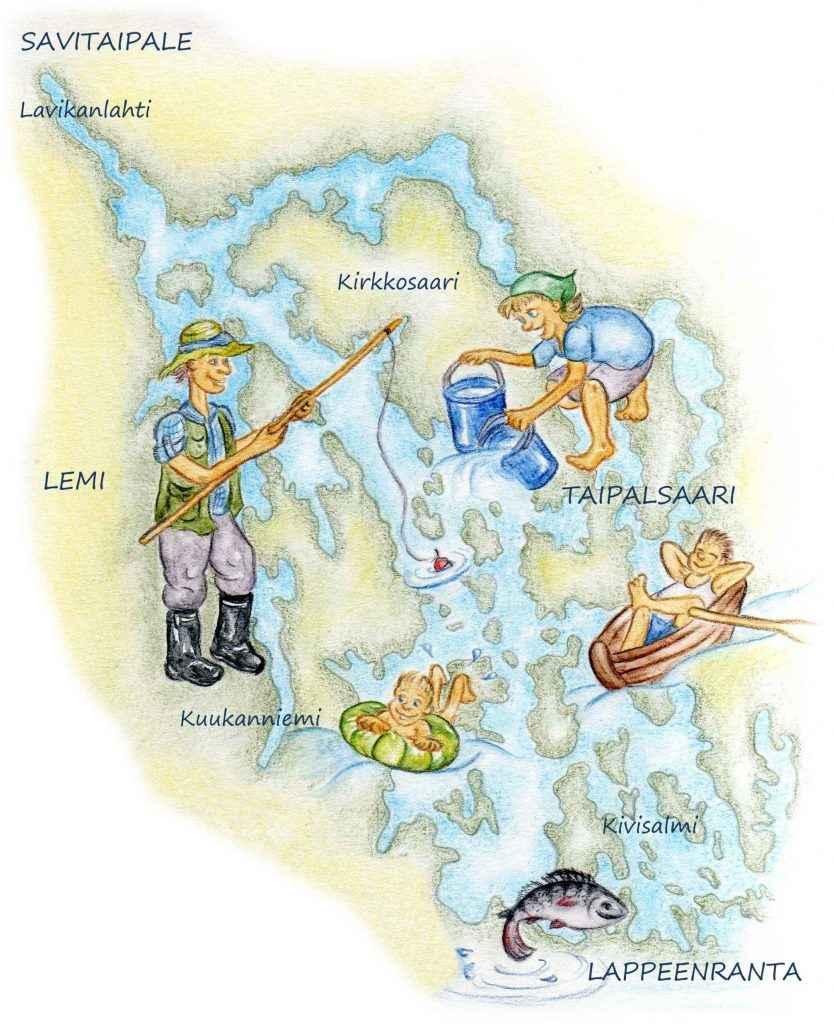 Piirroskuva ihmisistä järven rannalla kalastamassa, uimassa ja nauttimassa vedestä.