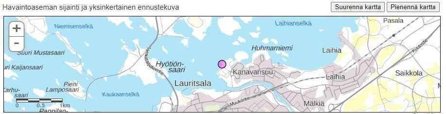 Karttakuva mittausasema sijainnista Saimaan kanava suulla