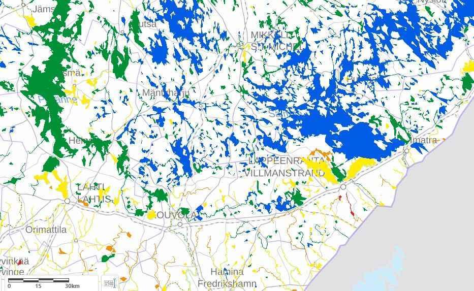 Veden laatu on kartalla osoitettu eri värisymboleilla.